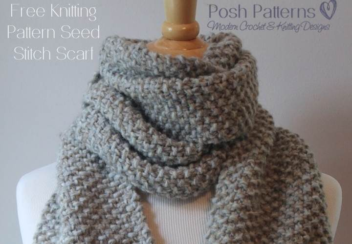 Free Patterns For Knitted Scarves : Free Beginner Scarf Knitting Pattern - Posh Patterns