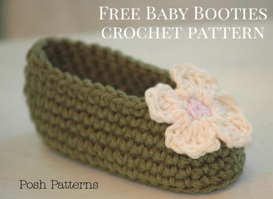 Free Crochet Patterns Baby Booties Mary Janes : Free Baby Booties Crochet Pattern - Posh Patterns