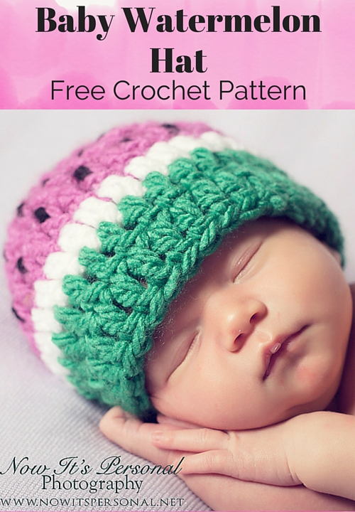 Free Crochet Hat Patterns To Download : Baby Watermelon Hat Free Crochet Pattern