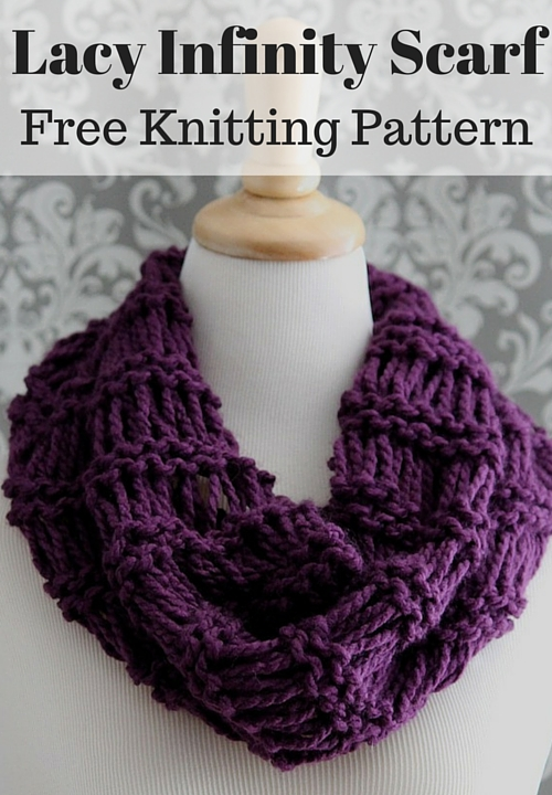 Free Infinity Scarf Knitting Patterns : Lacy Infinity Scarf Free Knitting Pattern