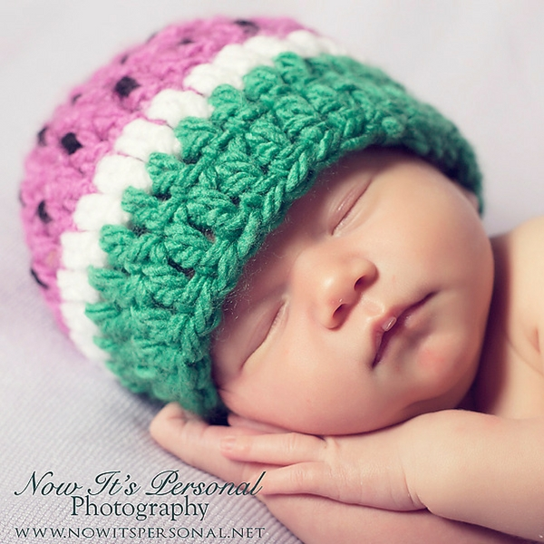 Baby Watermelon Hat Free Crochet Pattern