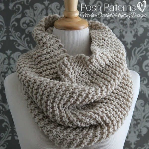Simple Knit Cowl Pattern : Beginner Knit Cowl Pattern