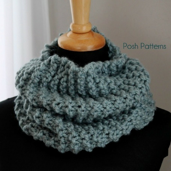 Easy Cowl Free Knitting Pattern Posh Patterns