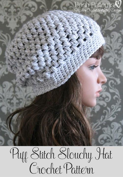 Puff Stitch Slouchy Hat Crochet Pattern