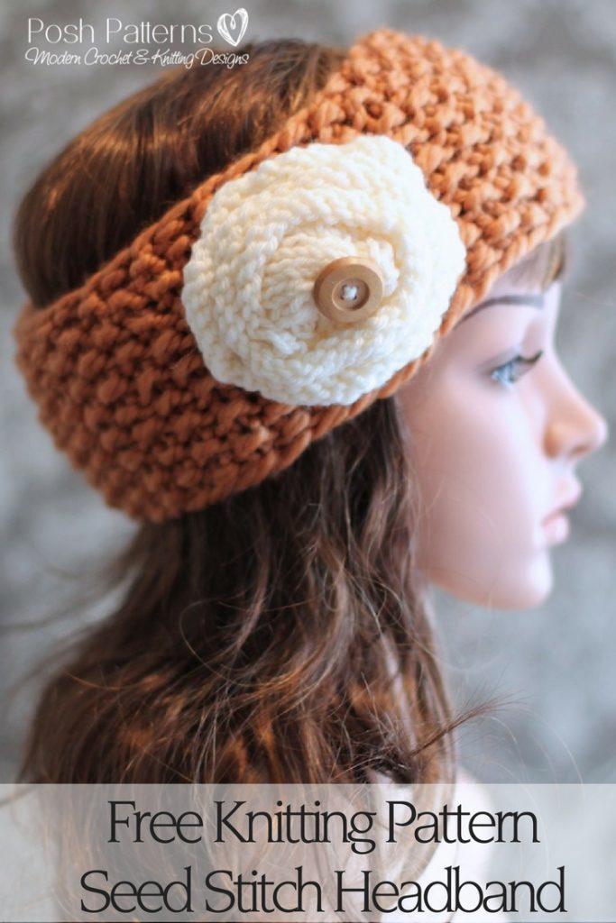Seed stitch headband free knitting pattern dt1010fo